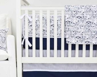 Baxter's Woodland Crib Bedding | 2 & 3-Piece Baby Boy Bedding Set in Navy and White | Boy Woodland Nursery Decor
