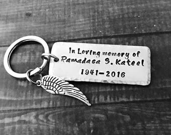 """Custom MEMORIAL Key Chain on 1/2"""" or 3/4"""" Wide Wide Aluminum Metal With Your Writing: Name, Initials, Dates, Saying, Quote, Etc."""