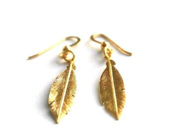 Gold feather earrings - Gold drop earrings - Bridesmaids earrings - Bridesmaids gift - Gold dangle earrings