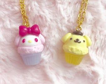 My Melody Pompompurin Cupcake Necklace