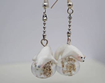 These earrings my little bear on glass beads