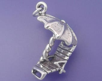 BEACH CHAIR and Umbrella Charm .925 Sterling Silver Pendant - lp3418
