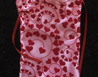 Velvet Red Hearts Valentine Love Bag