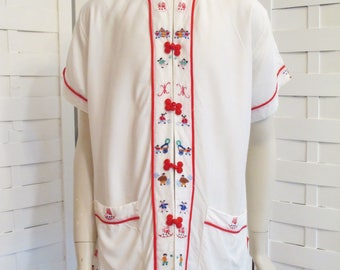 Vintage Wesley Village Production Co, Made in Hong Kong Pajama Set.  Dreamy Cotton Trimmed in Detailed Embroidery Including the Buttons Rare
