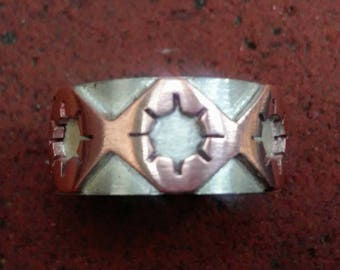 Engraved Gothic Copper and Silver Ring