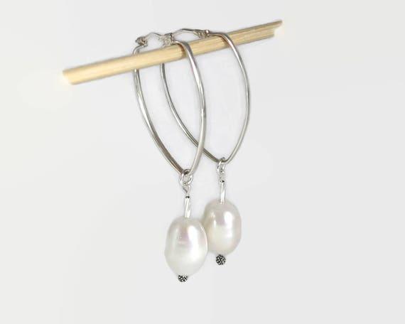 Pearl dangle earrings on sterling silver hoops, large lustrous white Baroque freshwater pearls, 10 grams