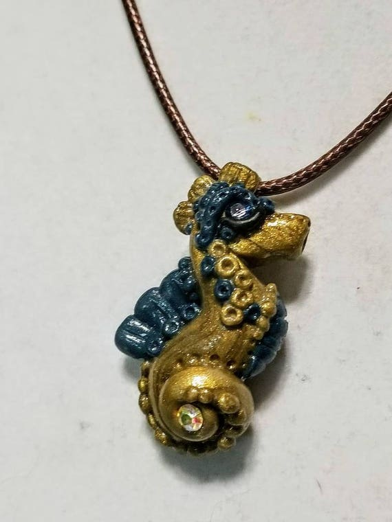 Stylized Seahorse Pendant - Gold and Blue