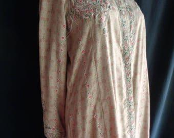 Vintage Caftan robe embroidered long beige