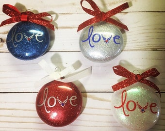 Air Force Love glitter ornament, Christmas Tree Ornament, Military Gift