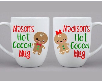 Christmas Hot Cocoa Childrens Gingerbread Boy Girl Mug, Hot Chocolate Mug, Christmas Gift