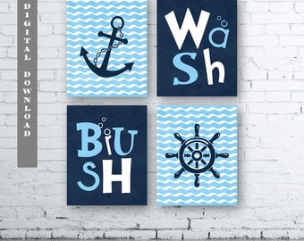Navy and Light Blue Nautical Bathroom Wall Art Prints - Set of Four (4)- Instant Download.  Navy and Blue Nautical Wash Brush. Anchor Print.