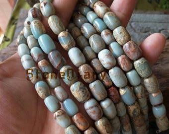 Aqua Terra Jasper Barrel Natural Sea Sediment Jasper Beads,Spacer Charm Necklace Beads Bracelet Finding Jasper Barrel Bead 8x12mm, 10x14mm