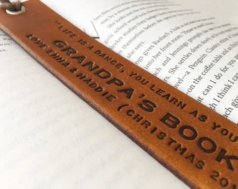 Personalized Tan Leather Bookmark - Grandparents- Christmas Present Gift - Birthday Gift - Family Gift - Christmas Custom Leather Gift