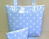 Tote bag in pale blue oilcloth with white spots zipped tote bag spotty shopping bag ladies bag lunch bag