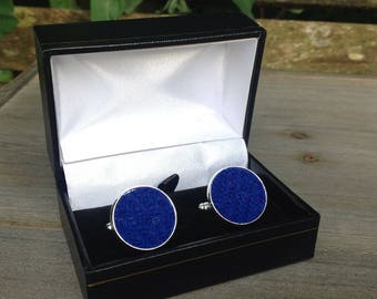 Harris tweed cuff links in blue tweed Father's Day gift wedding groomsmen birthday football
