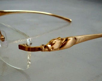 Vintage PANTHER Eyeglass Frame 18K Gold plated Rimless Glasses #2, Hand Made in France. For men and women. Clear Lens for your PX.