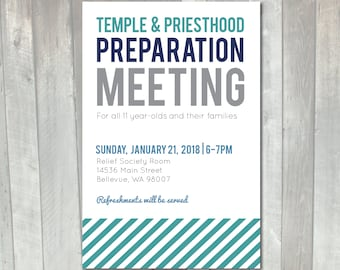 LDS Temple and Priesthood Preparation Meeting Printable Invitation | Primary priesthood preview invitation | Mormon Temple prep invitation
