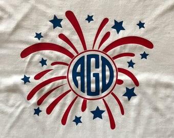 4th of July shirt, 4th of July firework shirt, firework shirt, monogram firework shirt, monogram 4th of July shirt, custom 4th of July shirt