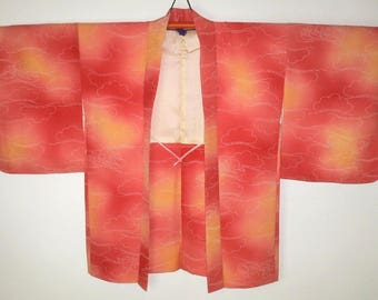 Elegant Authentic Japanese Silk Kimono Haori Evening Jacket - Excellent Condition, Sunset Colours with Cloud Pine & Flying Cranes