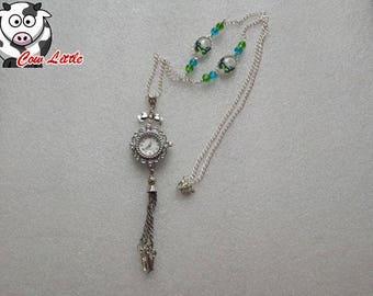 Necklace clock junkies * butterfly *.