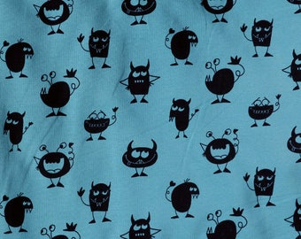 Fabric - jersey fabric - Teal monster print cotton/elastane knit