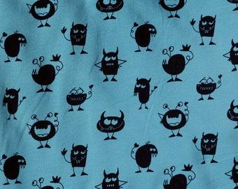 Fabric - jersey fabric - Teal monster print cotton/elastane knit
