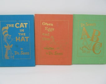 Dr. Seuss Book Lot of 3 - The Cat In The Hat, ABC, Green Eggs and Ham