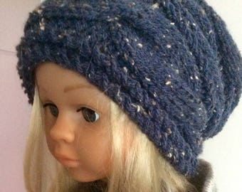 Wool Hat handmade knit T 52-54 for woman, girl