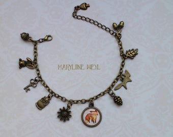 Fox cabochon bronze charm bracelet charm