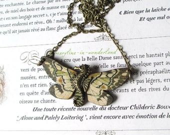 beige and Brown Butterfly bronze seahorse necklace