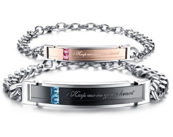You Left A Mark On My Heart - His and Hers Bracelets / Personalized Bracelets for Him / Girlfriend and Boyfriend Bracelets / Custom Engraved