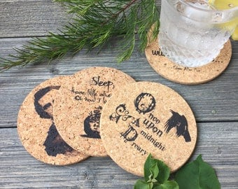 Edgar Allan Poe Cork Coaster Set of 4