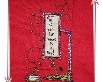 CHRISTMAS NAP EMBROIDERED Tee or Sweat by Linda