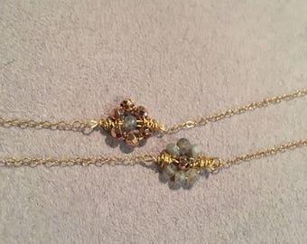 Wired Gemstone Flower Pendant Necklace