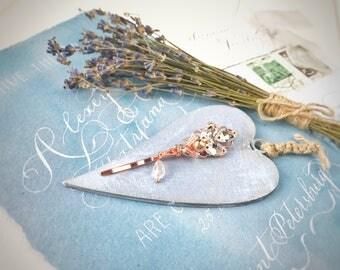 Rose gold hair pins, wedding hair pins, hair pin set, wedding hair comb, bridal bobby pins, wedding hair clip, wedding hair piece