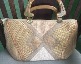 Vintage Pier Giorgio designer woven handbag satchel purse