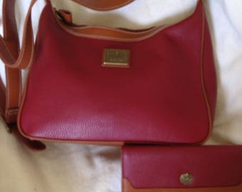 Set handbag and wallet Medallion red pebbled leather hand bag with matching wallet