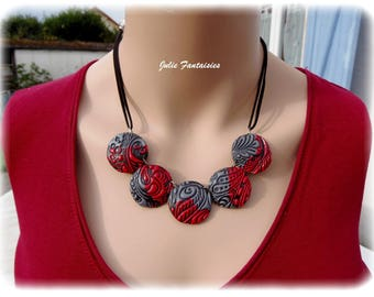 Red and silver polymer clay short necklace