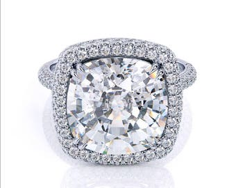 Cushion Cut Moissanite Ring 5.02ct Forever One Moissanite Ring .70ct Diamond Accents White gold Martini Halo Ring Pristine Custom Rings