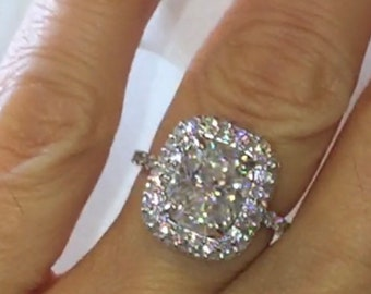 Harro Gem Moissanite Engagement Ring 3.25ct Moissanite 1.30ct Genuine Diamonds Wedding Ring Invisible Set Diamond Halo Pristine Custom Rings