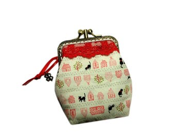 Retro purse, coin purse cats, worn, worn coin currency kawai, vintage, black cats, red lace, white, chic