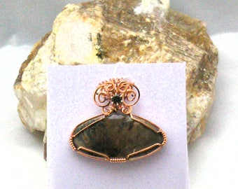 Ammonite Handmade Wire Wrapped Pendant with Smoky Quartz 2 Sided Pendant