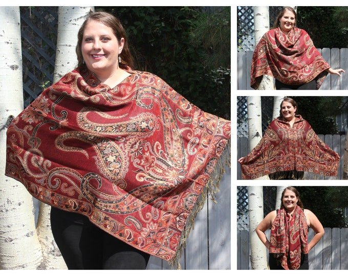 Featured listing image: Metallic Red and Gold Large Paisley Pashmina Poncho Shawl