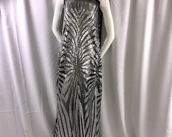 Gray sparkling dimond design embroider with sequins on a mesh fabric-dresses-fashion-decorations-apparel-nightgown-sold by yard.