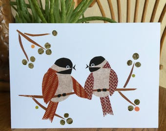 Red Chickadees Card, Lovebirds, Bird Card, cut paper art, whimsical, anniversary card, friendship card, sweethearts