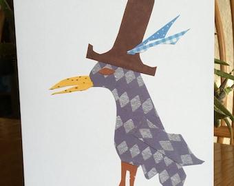 Bird with Yellow Beak, Bird Card, cut paper art, whimsical, bird card, blue bird card, quirky bird, bird in a hat