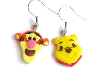 Winnie The Pooh Tigger Earrings, Winnie The Pooh Earrings, Orange Earrings, Polymer Clay Earrings Tiger Earrings Toy Earrings Funny Earrings