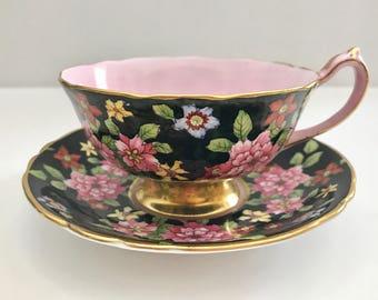 Stunning Black Chintz Paragon China Tea Cup & Saucer
