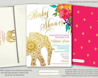 Indian themed  Baby Shower Invitation // Bollywood // Elephant // Paisley // Gold // Floral // Pink // Orange / Purple / JAIPUR COLLECTION