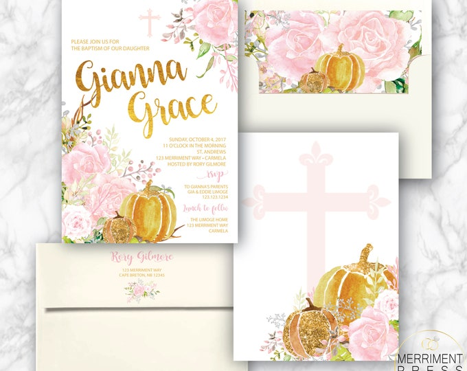 Fall Baptism Invitation // Pumpkin Baptism // Floral // Pink // Roses // Gold // Blush // Watercolor // CARMEL COLLECTION